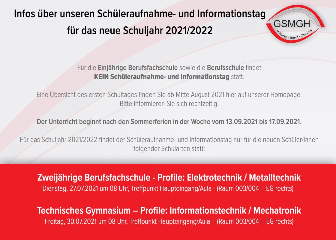Infos über unseren Schüleraufnahme- und Informationstag für das neue Schuljahr 2021/2022